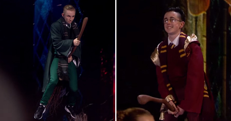 2 Guys Fly Down To The Stage And Perform A Jaw Dropping Harry Potter Themed Dance Off