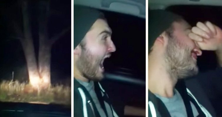He Wakes Up Screaming As They Approach A Tree. Then He Realises It Was All A Wind Up
