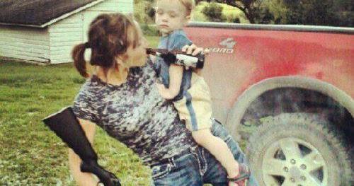 Mom drinking beer and holding a shotgun dr heckle funny redneck bad  parenting pictures - Go Social