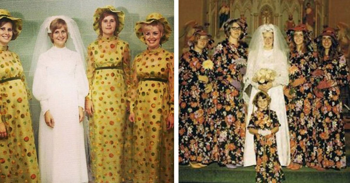20 Of The Most 'WTF!?' Vintage Bridesmaids Dresses From Back In The Day!